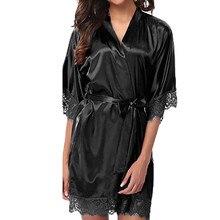 Women s Lady Sexy Lace Sleepwear Satin Nightwear Lingerie Pajamas Suit V collar Robe Dress Satin