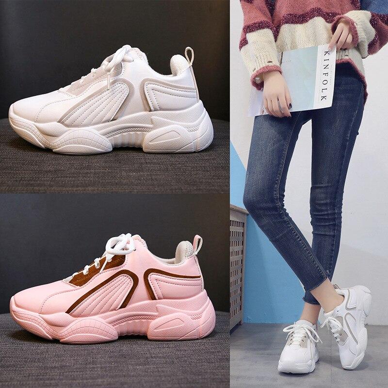 2019 Basket Femme nouveau automne chaussures décontractées femmes respirant maille vulcanisé chaussures Femme plate-forme appartements baskets