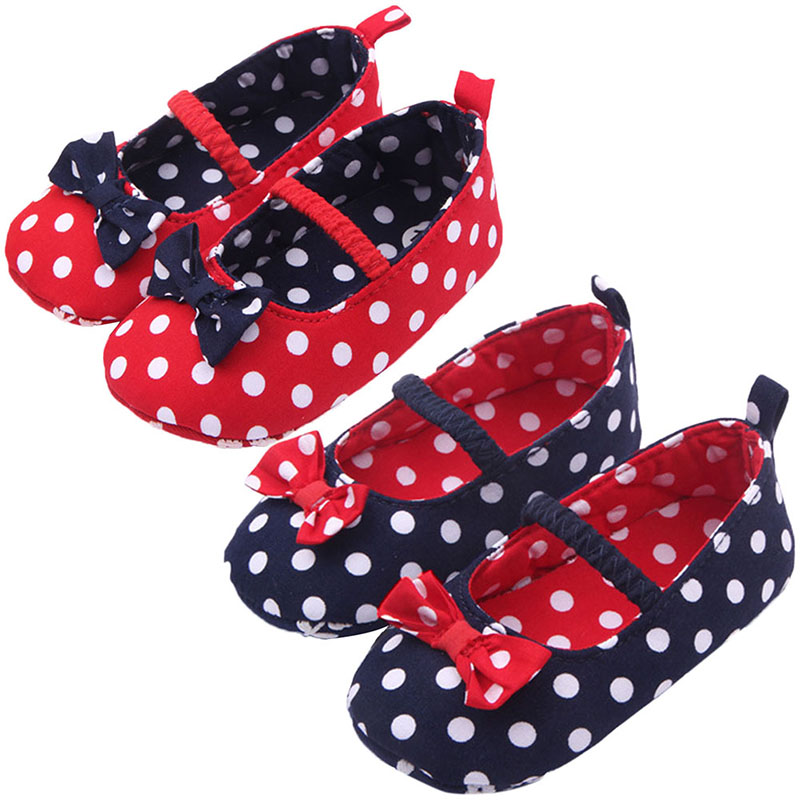 Baby Girl Soft Sole Shoes Dots Bowknot Toddler Anti-slip Shoes Newborn to