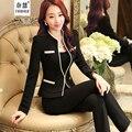 Señoras formales Diseños De Uniformes de Oficina Mujer Traje con Pantalones y Chaquetas Trajes de negocios elegante Pantalones de trabajo Blazer 2 unidades Conjuntos
