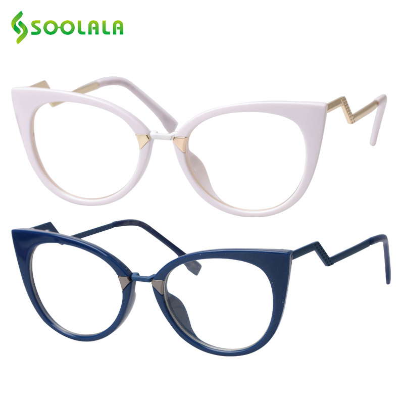 SOOLALA Cateye Men Women Reading Glasses Unique Ladder Arm Cat Eye Presbyopia Hyperopia Reader Eyeglasses +0.5 0.75 1.0 To 4.0