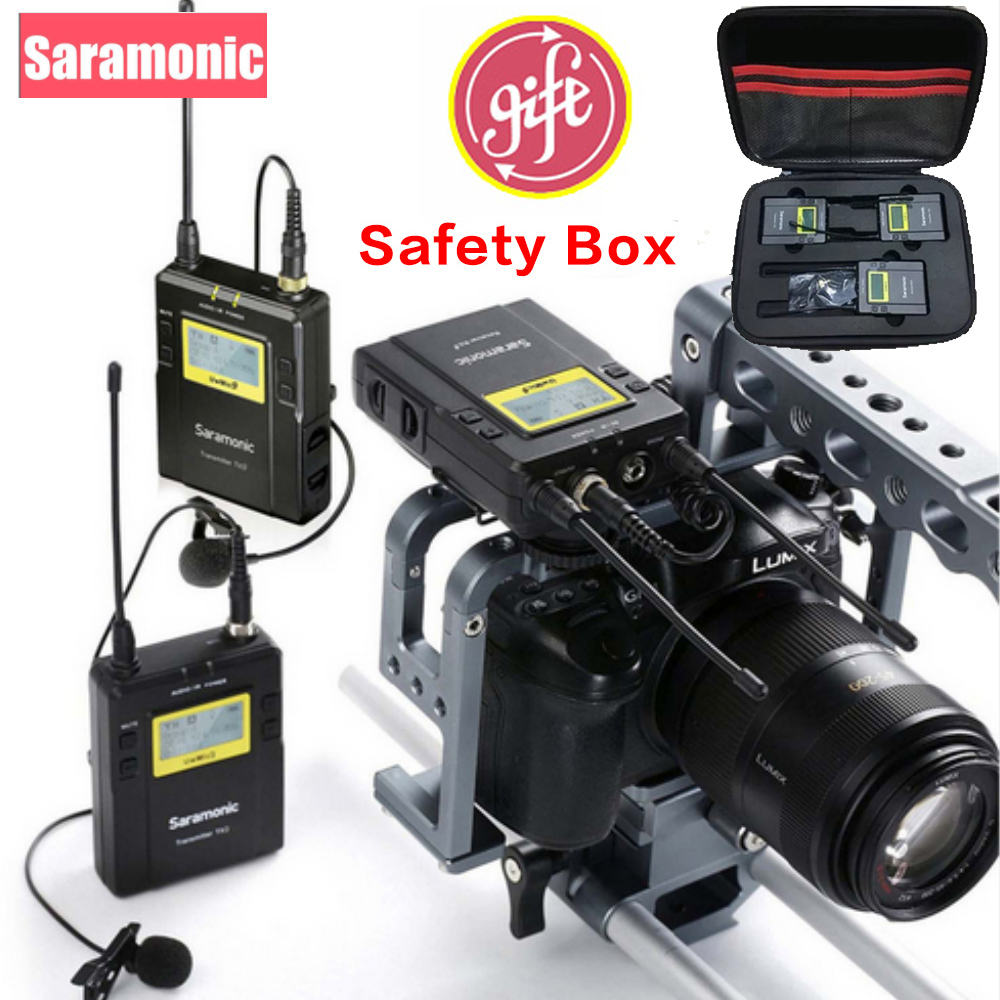 Saramonic UWMIC9 Broadcast UHF Camera Wireless Lavalier Microphone System Two Transmitters One Receiver for Canon DSLR Camcorder slx24 beta58 uhf wireless microphones only one microphone no receiver slx2
