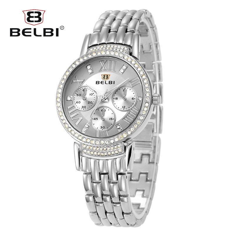 BELBI Silver Women Quartz Watch Ladies Luxury Crystal Rhinestone Dress Wristwatches Female Steel Clock Gift Relogio Feminino все цены