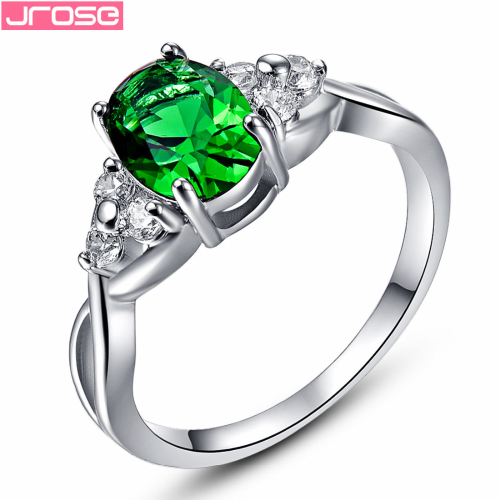JROSE Wedding Oval Cut Gorgeous Green Pink Red Cubic Zirconia Silver White goldplated Ring Size 6 7 8 9 10 Smykker til kvinder
