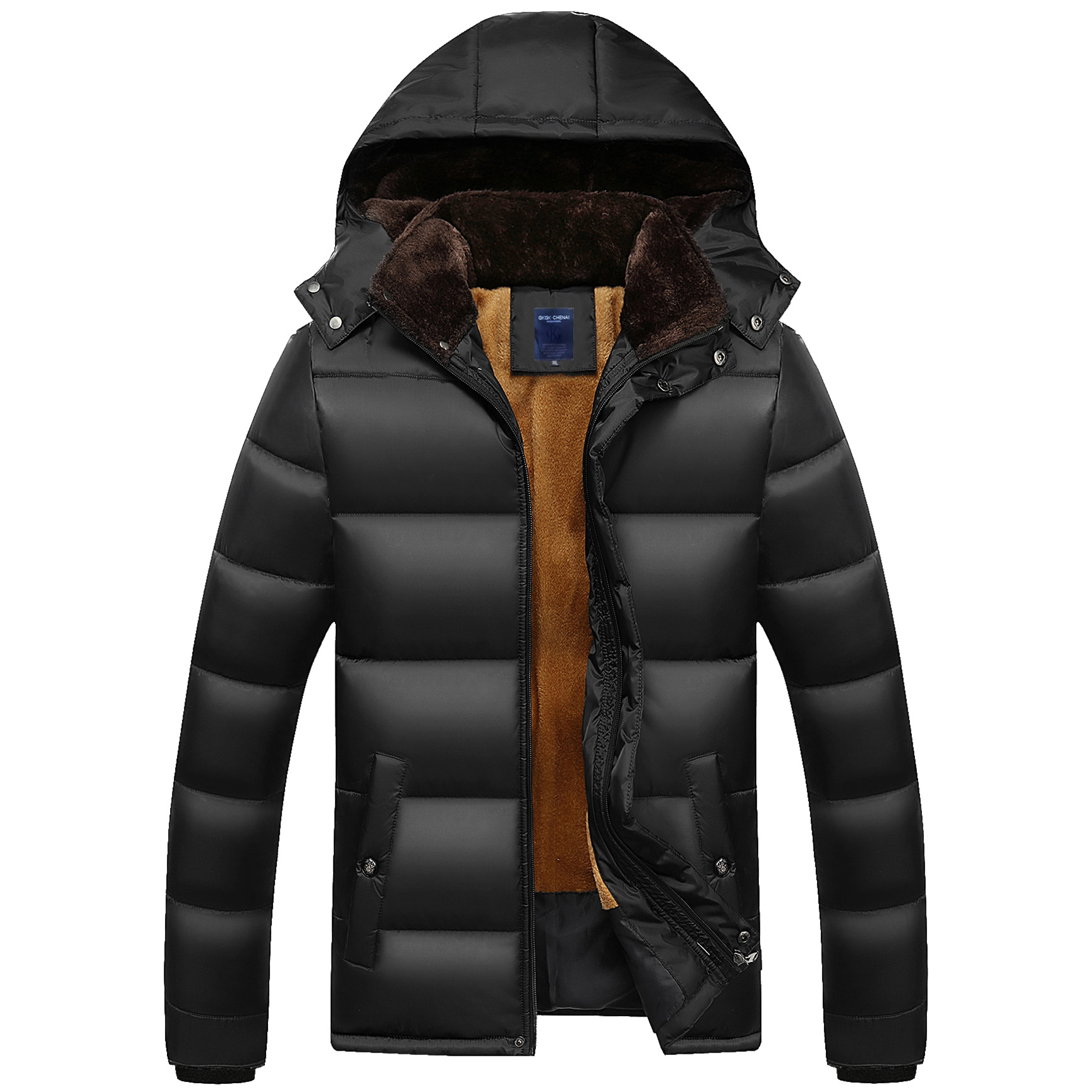 In the middle – aged and old cotton – padded jacket and cap of 2016 autumn winters long wool thick coat for men with big yards