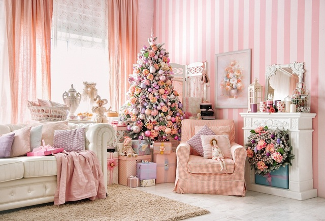 Laeacco Pink Princess Chic Room Scene Christmas Tree Fireplace ...