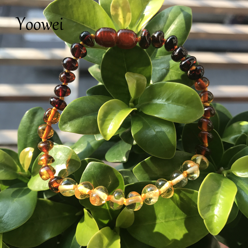 Yoowei Baby Teething Amber Bracelet/Necklace 12 Style Women Boys Girl Gift Natural Baltic Amber Jewelry Wholesale Size 14cm-50cm