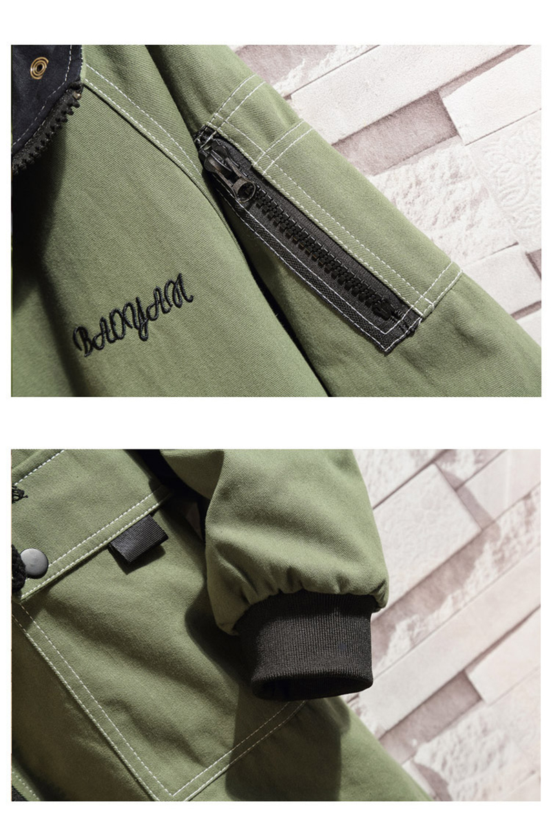 Army Green Trench Coat Men Korean Style Fashion Clothing Male Hooded Trench Coat Jacket   (21)