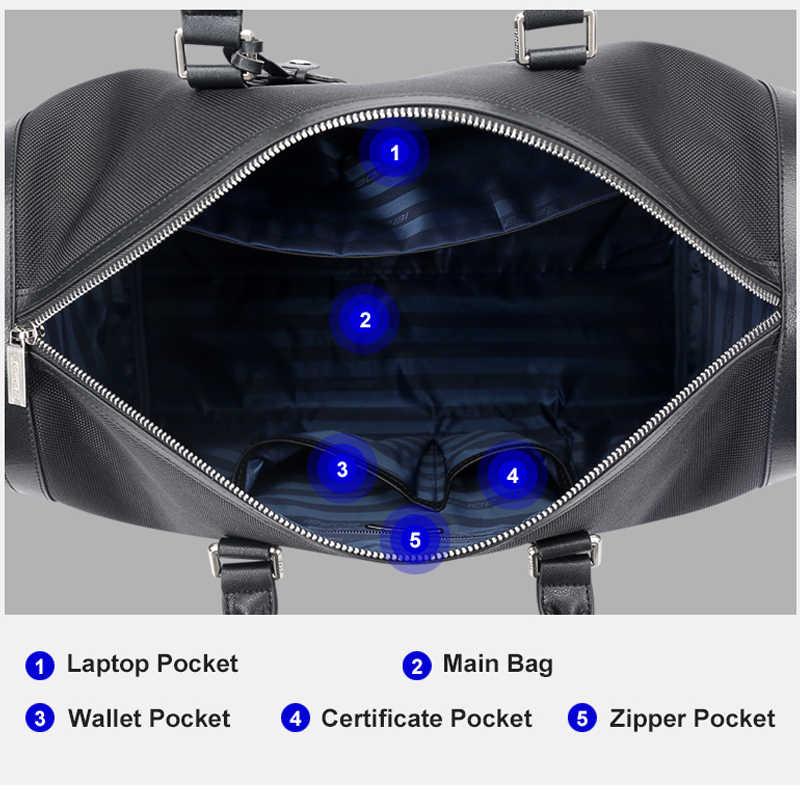 BOPAI wodoodporne torby podróżne Oxford dla mężczyzn biznes moda mężczyzna torba Duffle na pokładzie lotu kobiet dużego ciężaru torby Duffel czarny Unisex