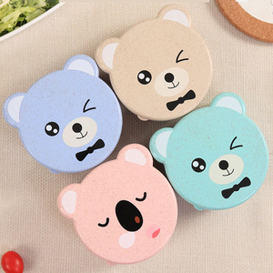 ONEUP 4pcs Wheat Straw Eco-Friendly Lunch Box Leakproof Food Container For Kids Bento Box 2019 New Random Bear Pattern Lunch Box