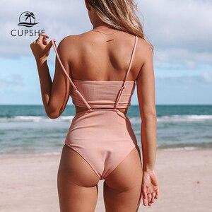 Image 2 - Женский купальник бандо CUPSHE, розовый однотонный купальник бикини с высокой талией из двух предметов, 2020