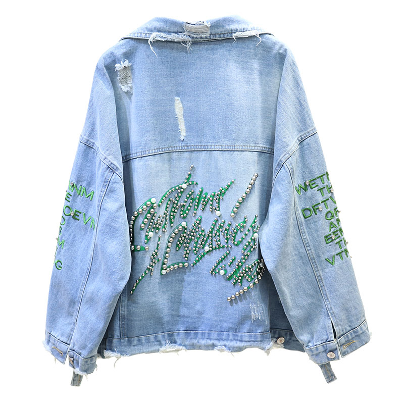Harajuku Beading Denim Jacket Women Coat 2019 Long Sleeve Hole Jeans Bomber Jacket Casual Pearls Streetwear