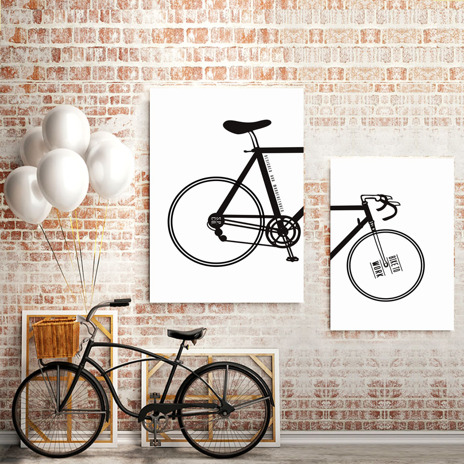 Cartoon Bicycle Black And White Wall Art Canvas Painting Posters And Prints Wall Pictures For Living Room Nordic Decoration Home in Painting Calligraphy from Home Garden