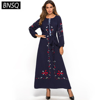 BNSQ Elegant Ladies Ethnic Maxi Long Dress Blue Spring 2019 Floral Embroidery Long Sleeve Dresses Women Slim Belt Pockets Tassel