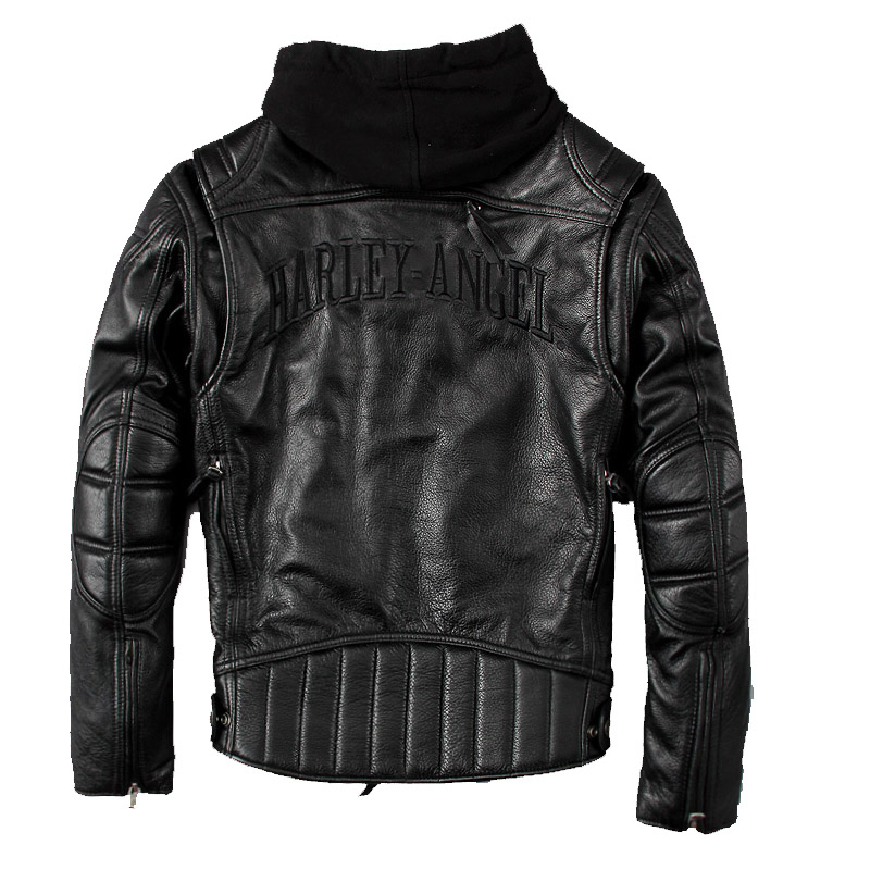 HARLEY DAMSON Black Men Hood Motorcycle Leather Jacket Genuine Thick Cowhide Slim Fit Short Russian Bikers Leather Jacket
