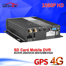 Free Shipping 4G Lte GPS Tracker Car Mobile Dvr 4CH H.264 1080P AHD Video Dvr I/O Alarm Loop Recording Remote PC/Phone Video