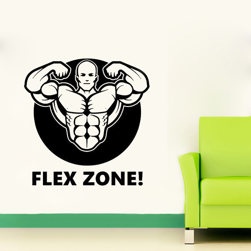 Fitness Gym Wall Decal FLEX ZONE Sticker Art Decor Bedroom Design Mural Sports Lifestyle Work Out Home Decor ...