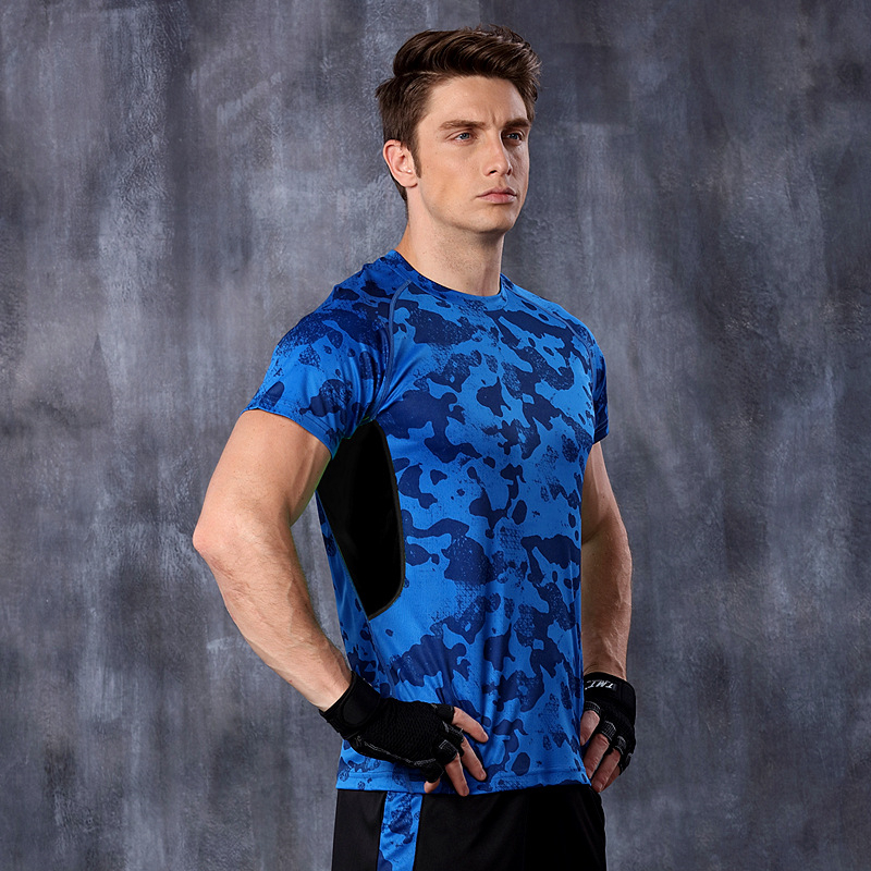Dry Quick gym tshirt compression tights Men sport shirts running short sleeve fitness Jogging Top maglietta di HSMA43