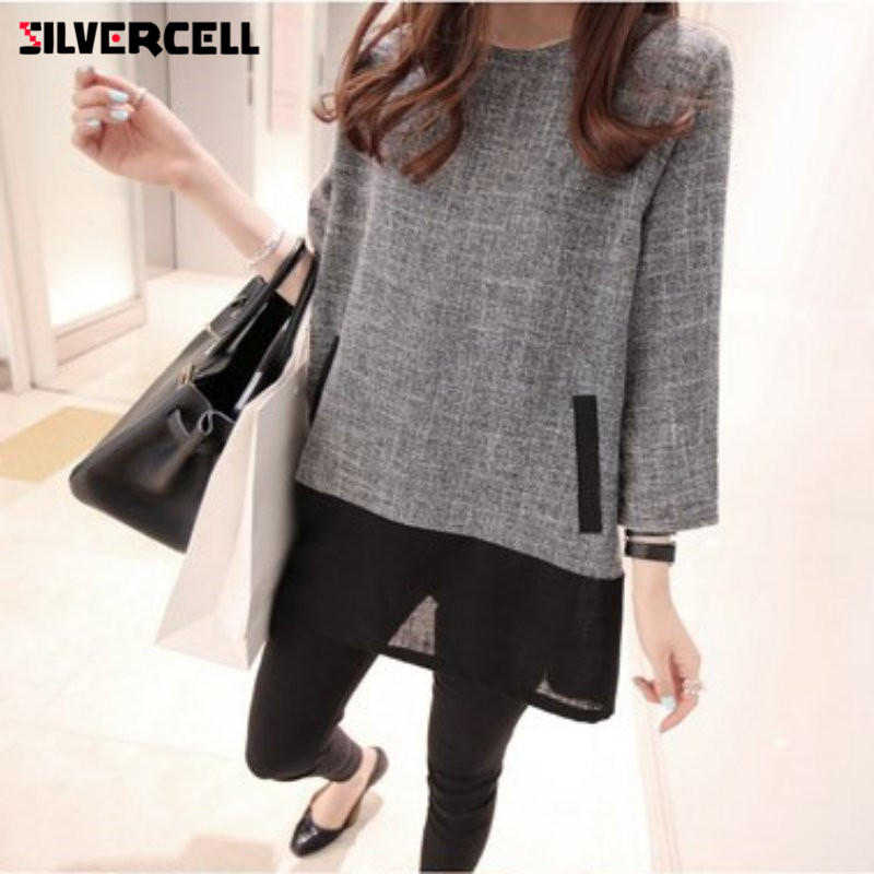 SILVERCELL Fashion Casual Autumn   Blouse   Women Patchwork Mesh Long Sleeve Blusas Splicing Tunic Large Size   Blouse     shirt   L-4XL