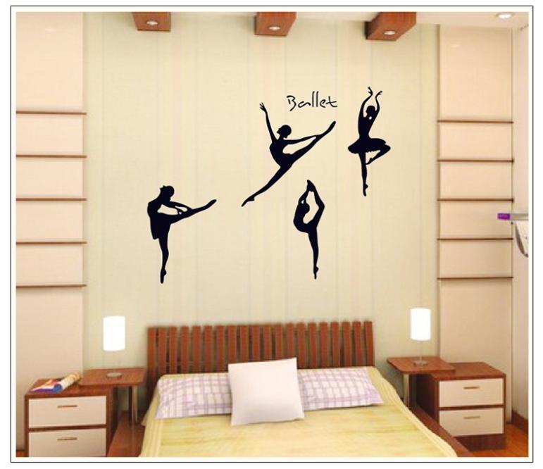 105 * 130 CM Ballet Dream Dancing Pose Music Girl Wall Tattoos Wall Decor  Sticker PVC