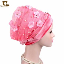 New Fashion 3D Flower Beaded Extra Long Mesh and Velvet Turban Head Wrap Nigerian Turban Stylish Head scarf Women Africa Hijab