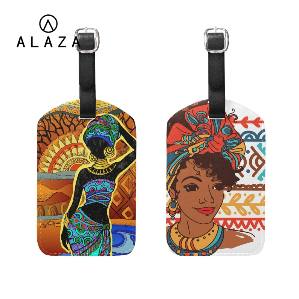 ALAZA Beautiful African Lady PU Leather Printing Luggage Tag For Friends Travel Accessories Baggage Tag Boarding Portable Label