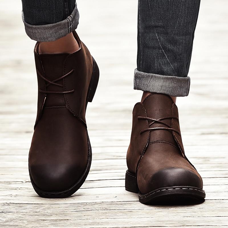 Genuine Leather Men Ankle Boots Breathable Men Leather Boots HighTop Shoes Outdoor Casual Men Winter Shoes Botas Homme Fur Plush