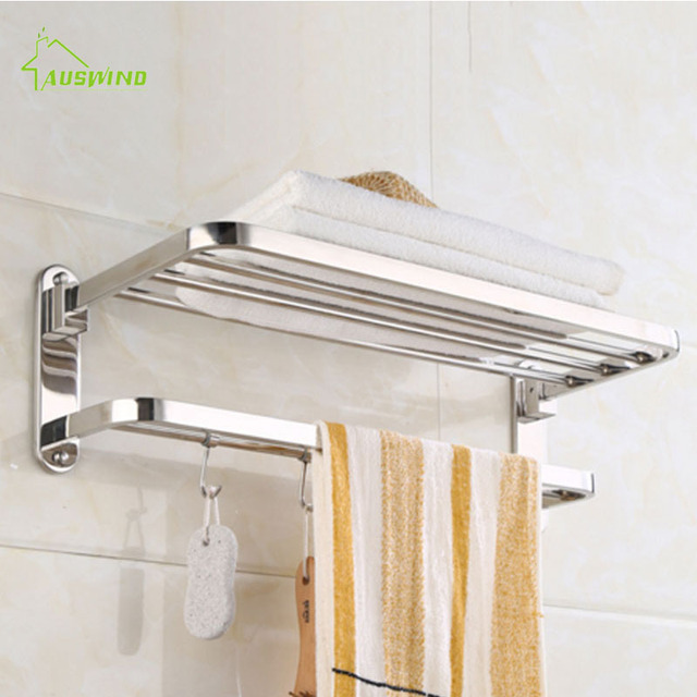 auswind modern sliver polish folding towel rack stainless steel hotel towel rack bathroom. Black Bedroom Furniture Sets. Home Design Ideas