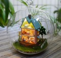 3pcs villa miniature dollhouse glass DIY mini home glass ball hand doll house With LED lights Wholesale
