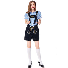 German traditional Blue and Black Oktoberfest couple costumes European American bar overalls Alpine adult women