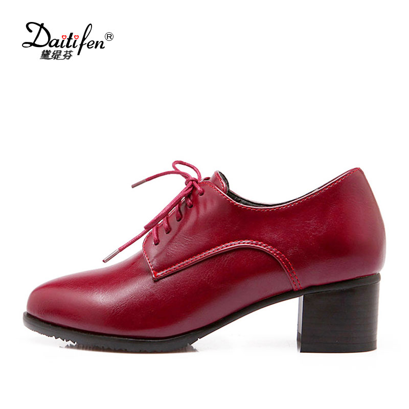 Daitifen New Fashion women Oxford shoes Rome Lace-up Pointed toe high Thick heels comfortable Office lady pumps Big size 34-43 summer bling thin heels pumps pointed toe fashion sexy high heels boots 2016 new big size 41 42 43 pumps 20161217