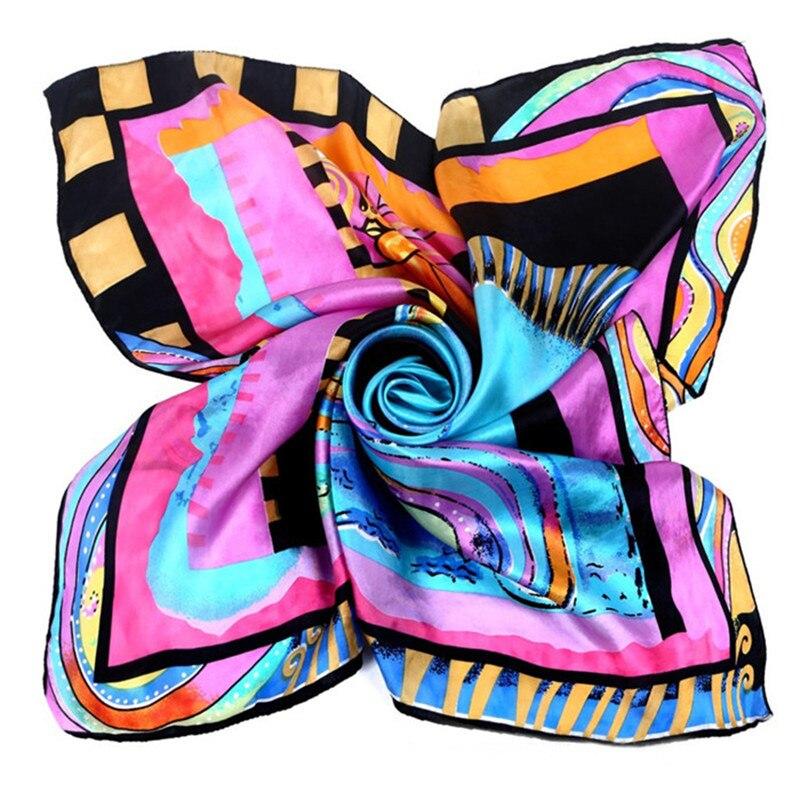 [LESIDA]90x90cm Big Squares Twill Silk Scarvess