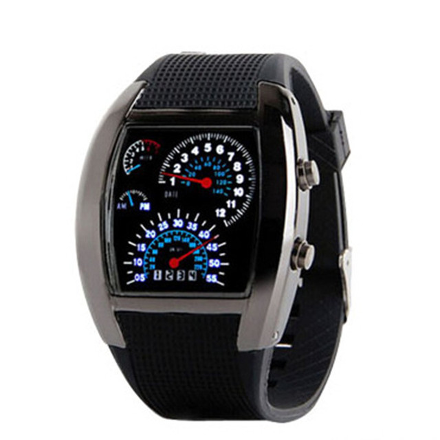 AAA Watch men Fashion Aviation Style Turbo clock Dial Flash LED Watch Men Best G