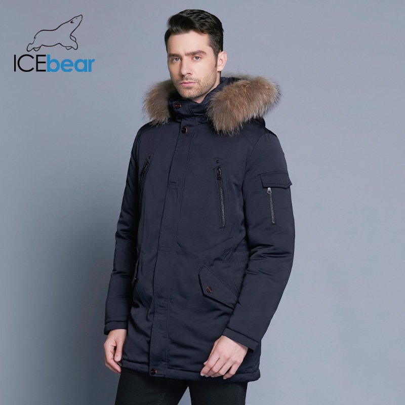 Image 3 - ICEbear 2019 Man Warm Winter Brand Jacket Luxury Detachable Fur Collar Turtleneck Windproof Concise Comfortable Cuffs 17MD903D-in Parkas from Men's Clothing