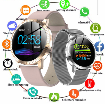 Smart Watch CF18 For Women Sport Heart Rate Blood Pressure Monitor Waterproof Tempered glass Activity Fitness tracker Smartwatch