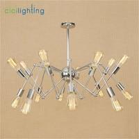 Modern Nordic Retro Edison Chandelier Vintage Loft Pendant Home Lighting Chrome plated Spider lustre lamparas Chandeliers