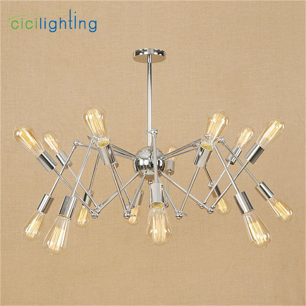 Modern Nordic Retro Edison Chandelier Vintage Loft Pendant Home Lighting Chrome plated Spider lustre lamparas Chandeliers 10 lights creative fairy vintage edison lamp shade multiple adjustable diy ceiling spider pendent lighting chandelier 10 ligh