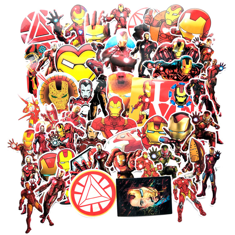 55Pcs Iron Man MARVEL NO Repeat Mixture Stickers Doodling Travel DIY Stickers Car Motorcycle Luggage Laptop Bike Scooter F5