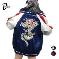 DayLook Chic Autumn Bomber Jacket Women Fashion Street Style Slip Jacket Embroidery Dragon Loose Baseball Sport