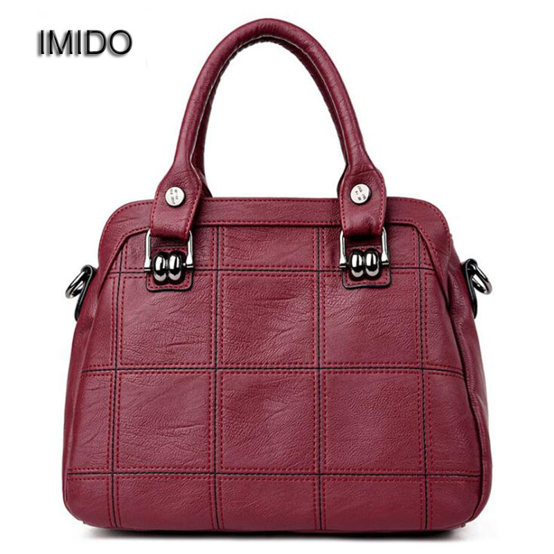 IMIDO New American Luxury Women Handbags Leather Shoulder Bag Brand Designer Tote Handbag Crossbody Bags Grey