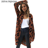 HITOM PRINCESS Sexy Leopard Print Long Cardigan Sweater Women Autumn Winter Knitwear Sweater Oversize Coat Female Outwear Jumper