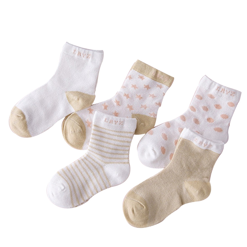 5 Pairs Socks Set Baby Boy Girl Cotton Cartoon Candy Colors Dot, breathable, Stylish Soc ...