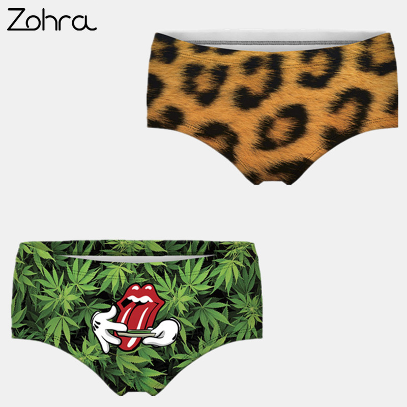 Zohra Leopard Weed 3d Printing Briefs Underwear Lingerie Women Panty Sexy Tanga Ropa Interior