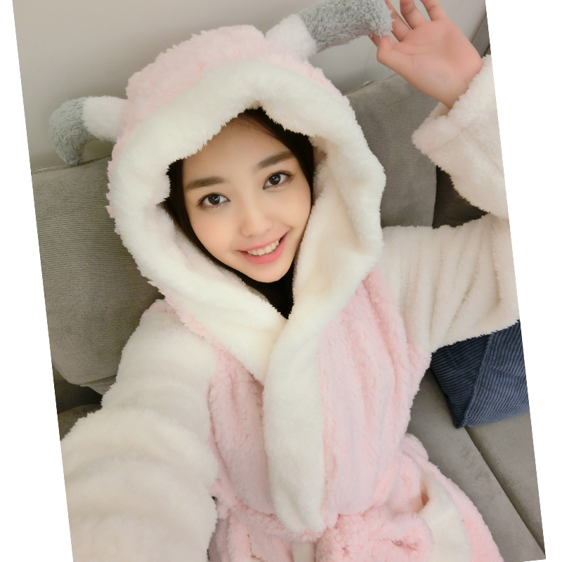 Soft Flannel Cartoon Animal Women Robes Winter Thickened Hooded Teenage Girl Bathrobe Couple Pajamas Sleepwear Christmas Gifts