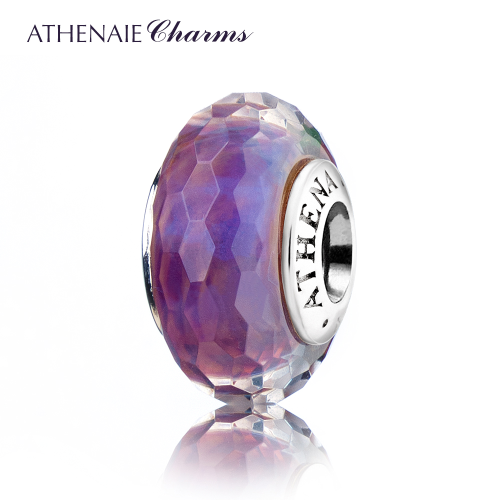 ATHENAIE Genuine Murano Glass 925 Silver Core Faceted Fascinating-Gradient Charm Bead Fit European Bracelets and Necklace Purple
