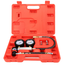 Cylinder Tester Detector Engine Compression Leak-down Test Gauges Set & Red Case