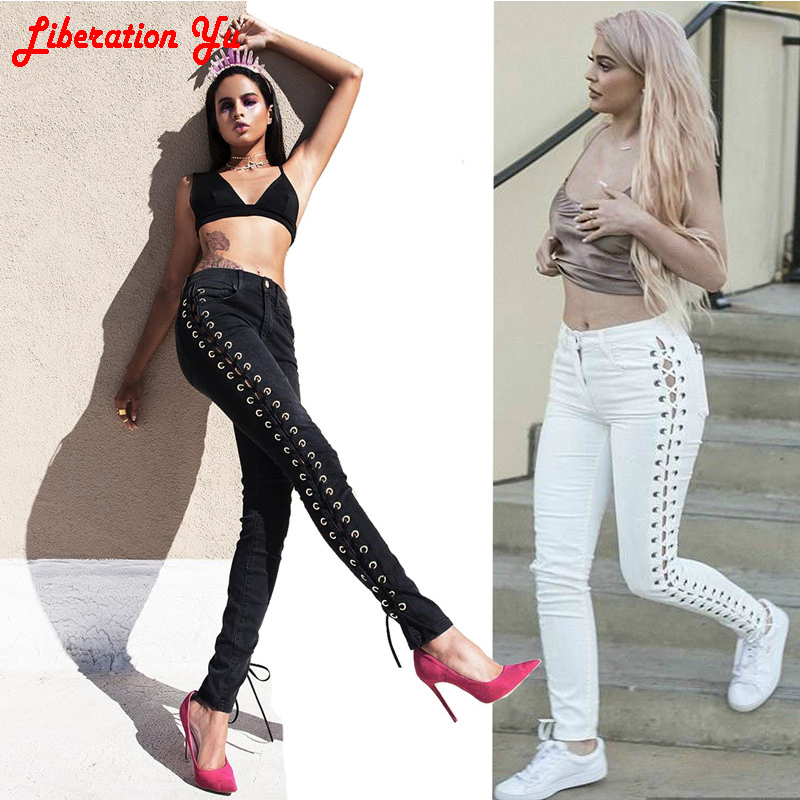 2017 New Fashion Jeans Women Pencil Pants High Waist Jeans Sexy Slim Elastic Skinny Pants Trousers