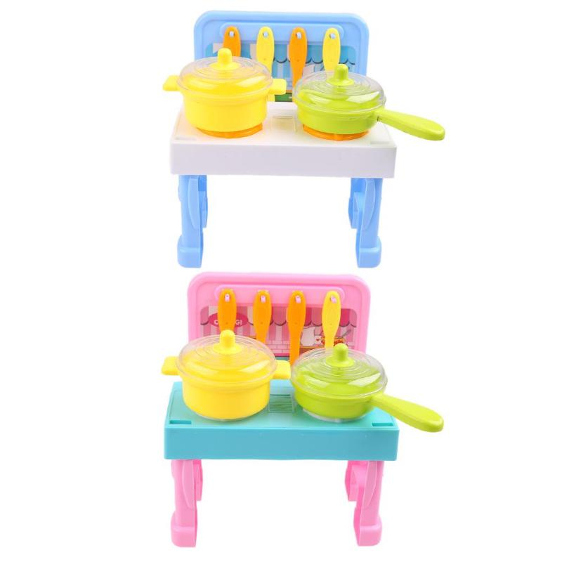 Kids Kitchen Cooking Toys Pretend Play Plaything with Light Sound Effect Toys Pretend Funny Play House Miniature