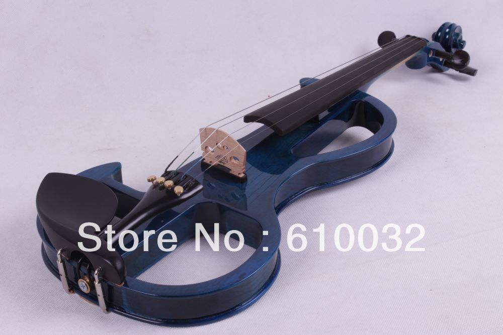 blue color  4/4 4 String Electric Violin Solid wood hand style 2-5 # handmade new solid maple wood brown acoustic violin violino 4 4 electric violin case bow included