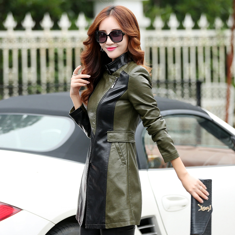 4b2209c07a1 Women's Leather Trench Coat 2018 Hot Sale Top Fashion Suede XS XL Army Green  Long Zipper Jacket Outerwear Young Girls Clothing-in Leather & Suede from  ...